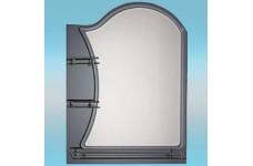 Зеркало   74 х 67.5  темное  полка 18см с бортом  + полка 65см с бортом №65/1 + стакан и мыльница