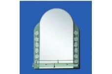 Зеркало   53.5 х 65  матовое зеленое с листом полка 49см №49 45125greenА