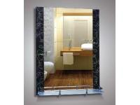 Зеркало 67х52 см. вставки цветы на черном фоне + полка 50 см. с пластиковым бортиком КЗСК 46725в