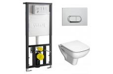Инсталляция с подвесным унитазом Vitra S20(кнопка хром глянцевый) микролифт  9004B003-7204