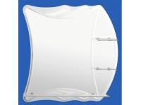 Зеркало 700*600мм с тремя полками, матовые вставки и внутренний фацет САНАКС 46901