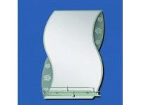 Зеркало 700*600мм с фацетом, матовые вставки с листом, полка внутри коробки САНАКС  46159в