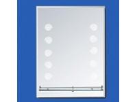 Зеркало 80*60 см с полкой, кружочки с фацетом, внутренняя подсветка 12W САНАКС  46103