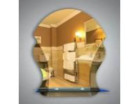 Зеркало 52 х 44 см. с бронзовыми вставками + полка 40 см. тонированное стекло КЗСК  46235а