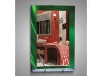 Зеркало 80 х 53 см. зелёный фон полка 50 см. пластиковым бортиком, полноцвет 3510 КЗСК 46649в