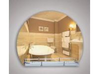 Зеркало 80 х 53 см. с орнаментом цветы на белом фоне + полка 50 см. пластиковым бортиком КЗСК 46713в