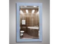 Зеркало 80х55 см. с фацетом с орнаментом цветы на белом фоне КЗСК 45711