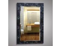 Зеркало 800 х 550 см. с фацетом с орнаментом цветы на черном фоне КЗСК 45721