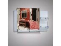 Зеркало 46716 53*80 с орнаментом цветы на белом фоне+полка 50см с бортом +две полки 20 см с бортом