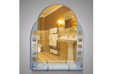 Зеркало  65х52 см с матовыми вставками (листья) + полка50 см КЗСК 46125а