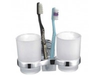 Держатель для зубных щеток LEDEME L1308C, настенный, 2 стакана, стекло, цвет бронза 1442680