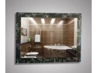 Зеркало 500 х 680 см. декорированное с орнаментом цветы на черном фоне КЗСК 45722