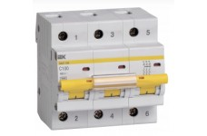 Автоматический выключатель 3П 100А С ВА47-100 10кА ИЭК MVA40-3-100-C