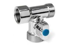 Кран-тройник  HLV  1/2*3/4*1/2 для подключения с/т приборов никелированный