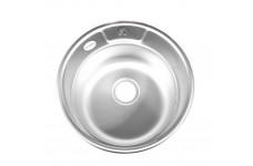 Мойка врезная Fabia М-49 см,  декор, толщина 0,8 мм, глубина 180 мм (сифон с переливом)