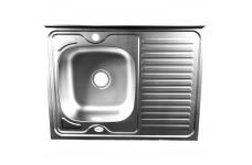 Мойка накладная Fabia левая, декор 80х60 толщина 0,6 мм глубина 160 мм (сифон с переливом)